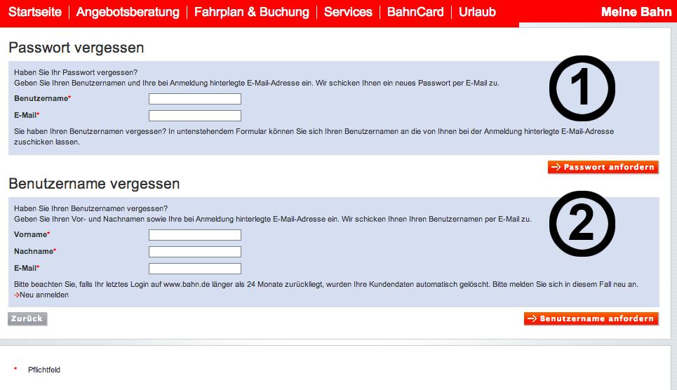 passwort und benutzername vergessen